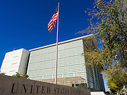 01 OCTOBER 2013 - PHOENIX, AZ: The US Courthouse in Phoenix Tuesday. Scheduled trials continued in the building Tuesday but many offices were closed on the first day of the US government shutdown. The US government closed most non-essential federal services Tuesday. The shutdown is be the first in the US in 17 years. More than 700,000 federal government workers could be sent home on unpaid leave, with no guarantee of back pay once the deadlock is over.    PHOTO BY JACK KURTZ