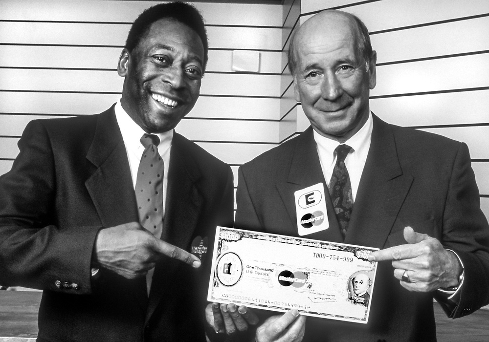 Brazil football legend Pele with Manchester United and England legend Sir Bobby Charlton, celebrity faces of MasterCard.<br /> Client Mastercard