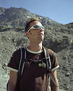Man hiking in Verbier, Switzerland
