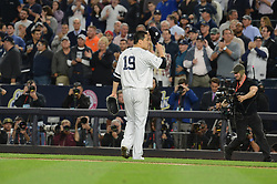 October 18, 2017 - Bronx, NY, USA - New York Yankees starting pitcher Masahiro Tanaka receives a standing ovation after after working seven shutout innings against the Houston Astros during Game 5 of the American League Championship Series at Yankee Stadium in New York on Wednesday, Oct. 18, 2017. The Yankees won, 5-0, for a 3-2 series lead. (Credit Image: © Andrew Savulich/TNS via ZUMA Wire)