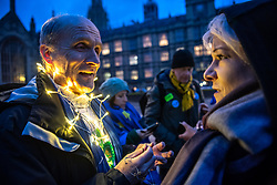 © Licensed to London News Pictures. 13/03/2019. London, UK.  Remainer supporters jubilant at the result of a second parliamentary vote which by a slim majority blocked a no deal Brexit .  Photo credit: Guilhem Baker/LNP