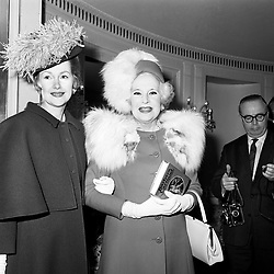 """The Countess of Dartmouth (left) and her mother, romantc novelist Barbara Cartland at the luncheon to mark the publication of the latter's autobiography """"We Danced All Night"""" at the Dorchester, Park Lane London."""