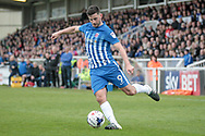 Pádraig Amond (Hartlepool United) crosses the ball into the Carlisle United penalty box during the EFL Sky Bet League 2 match between Hartlepool United and Carlisle United at Victoria Park, Hartlepool, England on 14 April 2017. Photo by Mark P Doherty.