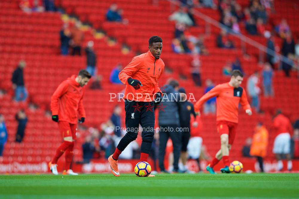 LIVERPOOL, ENGLAND - Sunday, November 6, 2016: Liverpool's Divock Origi warms-up before the FA Premier League match against Watford at Anfield. (Pic by David Rawcliffe/Propaganda)