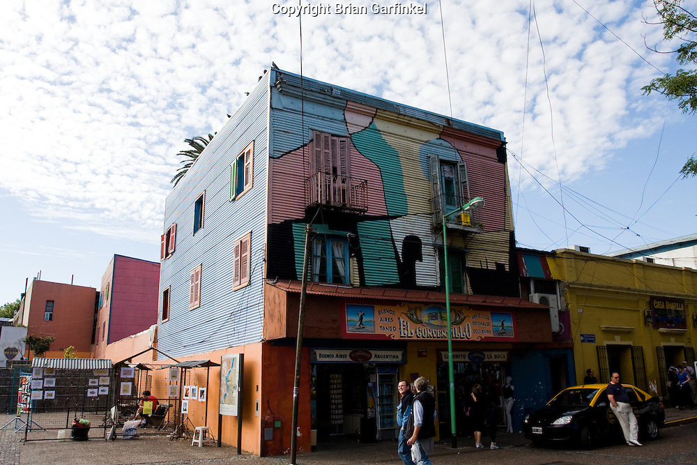 """Buenos Aires, Argentina - Homes and stores are colorfully painted in the """"La Boca"""" section of Buenos Aires"""