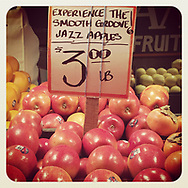 2017 NOVEMBER 08 - Jazz apples on display at Pike Market in Seattle, WA, USA. Taken with Apple iPhone and processed through Instagram app. By Richard Walker
