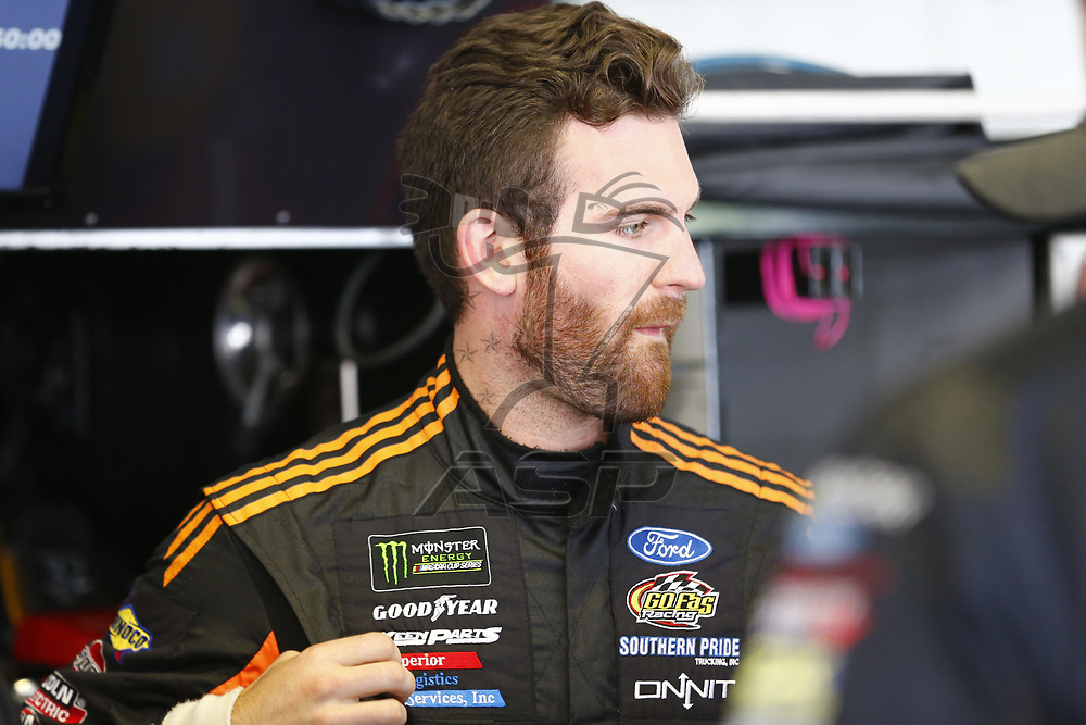 Corey LaJoie (32) takes to the track to practice for the Pocono 400 at Pocono Raceway in Long Pond, Pennsylvania.
