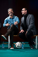 "Rafael Alkorta and Pedja Mijatovic during the presentation of the new tv program #0 of Movistar+ ""Caos FC"" at Ciudad del Futbol of Las Rozas in Madrid. November 21, Spain. 2016. (ALTERPHOTOS/BorjaB.Hojas)"
