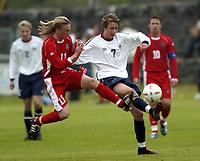 Fotball<br /> Photo: Richard Lane, Digitalsport<br /> Wales v Norge U19 Friendly International at Bethesda. 11/05/2004.<br /> Jørgen Røssevold - Drøbak/Frogn - is challenged by Jamie Price.