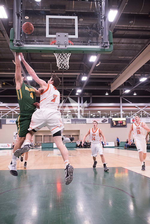 4th year guard Alex Igual (4) of the Regina Cougars during the 5th year night on February  11 at Centre for Kinesiology, Health and Sport. Credit: Casey Marshall/Arthur Images