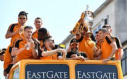 Wolverhampton Wanderers manager Nuno Espirito Santo (centre) celebrates with his team during the winner's parade through Wolverhampton.