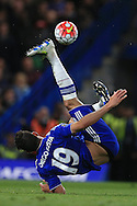Diego Costa of Chelsea tries an overhead kick.Barclays Premier league match, Chelsea v Tottenham Hotspur at Stamford Bridge in London on Monday 2nd May 2016.<br /> pic by Andrew Orchard, Andrew Orchard sports photography.