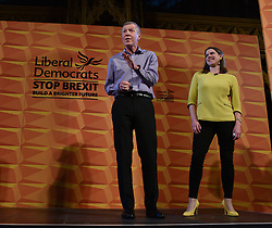 Pictured: Scottish Lib Dem leader Willie Rennie introduces Jo Swinson on to the stage at the rally.<br /> <br /> Liberal Democrat leader Jo Swinson held a campaign rally in central Edinburgh, where she talked about the party's opposition to independence.<br /> <br /> © Dave Johnston / EEm