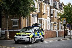© Licensed to London News Pictures. 22/09/2018. London, UK. A police cordon at Wilderton Road, Stamford Hill, North London where a man in his 20's was found stabbed to death following a fight at a flat. A second victim , a 17-year-old male , was also taken to hospital suffering a stab injury. A murder investigation has bene launched. Photo credit: Ben Cawthra/LNP