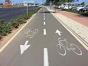 Bicycle lane. Photographed in Tel Aviv Israel