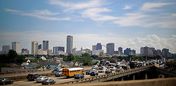28 August 2014. New Orleans, Louisiana.<br /> The view from I-10 across to downtown.<br /> Photo; Charlie Varley/varleypix.com