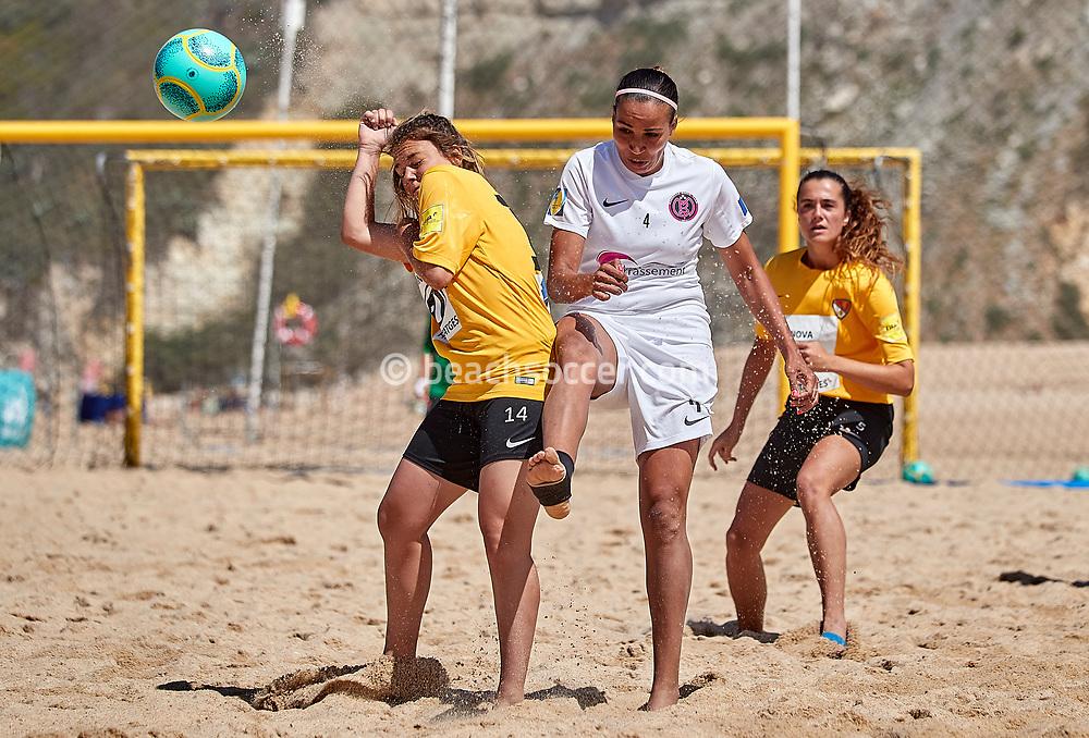 NAZARE, PORTUGAL - JUNE 7: farah N'ser Torti of Marseille Beach Team and Paula Boza of Fundacio Terrasa during the Euro Winners Cup Nazaré 2019 at Nazaré Beach on June 7, 2019 in Nazaré, Portugal. (Photo by Jose M. Alvarez)