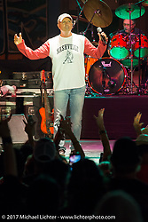 Lead singer Mark Miller with the Sawyer Brown Band on the main downtown stage during the Lone Star Rally. Galveston, TX. USA. Saturday November 4, 2017. Photography ©2017 Michael Lichter.
