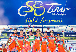 Best team Nippo - Vini Fantini: Damiano Cunego (ITA) of Nippo-Vini Fantini, Iuri Filosi (ITA) of Nippo-Vini Fantini, Alessandro Bisolti (ITA) of Nippo-Vini Fantini, Marco Canola (ITA) of Nippo-Vini Fantini, Alan Marangoni (ITA) of Nippo-Vini Fantini, Nicola Bagioli (ITA) of Nippo-Vini Fantini, Ivan Santaromita (ITA) of Nippo-Vini Fantini, Kohei Uchima (JPN) of Nippo-Vini Fantini celebrate at trophy ceremony after the last Stage 4 of 24th Tour of Slovenia 2017 / Tour de Slovenie from Rogaska Slatina to Novo mesto (158,2 km) cycling race on June 18, 2017 in Slovenia. Photo by Vid Ponikvar / Sportida
