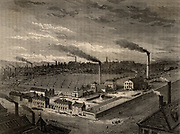 Isaac Holden & Sons' Alston wool combing works, Bradford, Yorkshire, England, c1880. From 'Great Industries of Great Britain' (London, c1880).  Engraving.