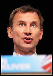 Health Secretary Jeremy Hunt  speech  at the Conservative Party Conference in Birmingham, Tuesday, 9th October 2012. Photo by: Stephen Lock / i-Images