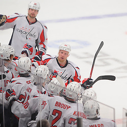 April 30, 2012: Washington Capitals left wing Jason Chimera (25) celebrates his goal during first period action in Game 2 of the NHL Eastern Conference Semifinals between the Washington Capitals and New York Rangers at Madison Square Garden in New York, N.Y.