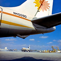 Tail photo of National Airlines McDonnell Douglas DC 8-61 parked at their maintenance base.