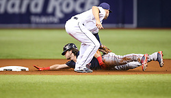 September 15, 2017 - St. Petersburg, Florida, U.S. - WILL VRAGOVIC   |   Times.Tampa Bay Rays second baseman Danny Espinosa (8) makes the tag on the throw by catcher Wilson Ramos (40) to beat Boston Red Sox left fielder Andrew Benintendi (16) attempting to steal second base in the first inning of the game between the Boston Red Sox and the Tampa Bay Rays at Tropicana Field in St. Petersburg, Fla. on Friday, Sept. 15, 2017. (Credit Image: © Will Vragovic/Tampa Bay Times via ZUMA Wire)
