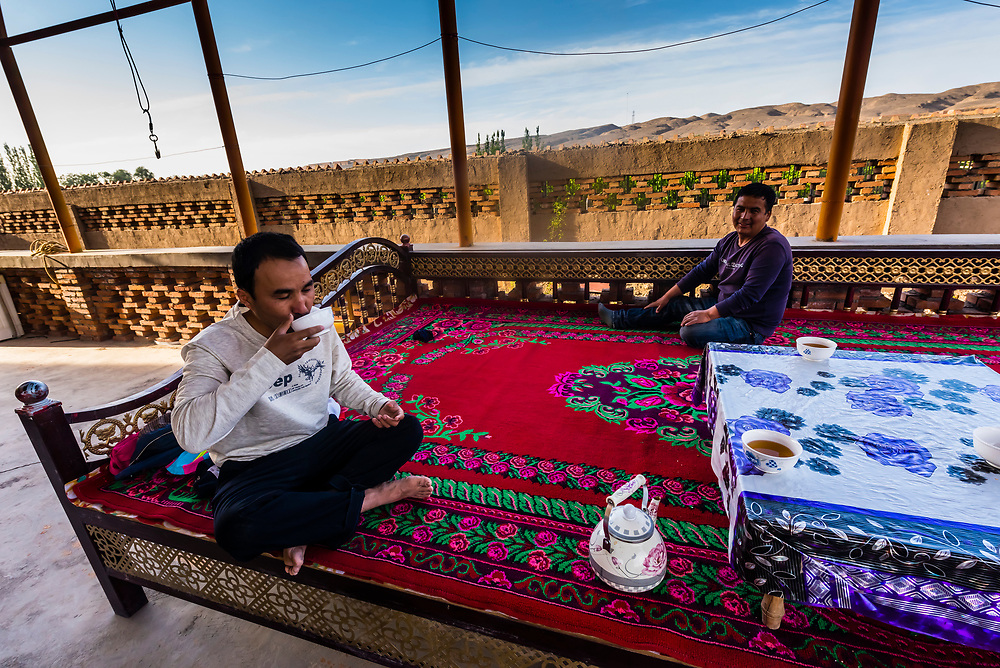 In the home of Uyghur people in the Yarnaz Valley of Turpan, Xinjiang Province, China. Turpan is a small oasis town and former Silk Road outpost. Uyghur people are a Central Asian people of Muslim Turkic origin. They are China's largest minority group.