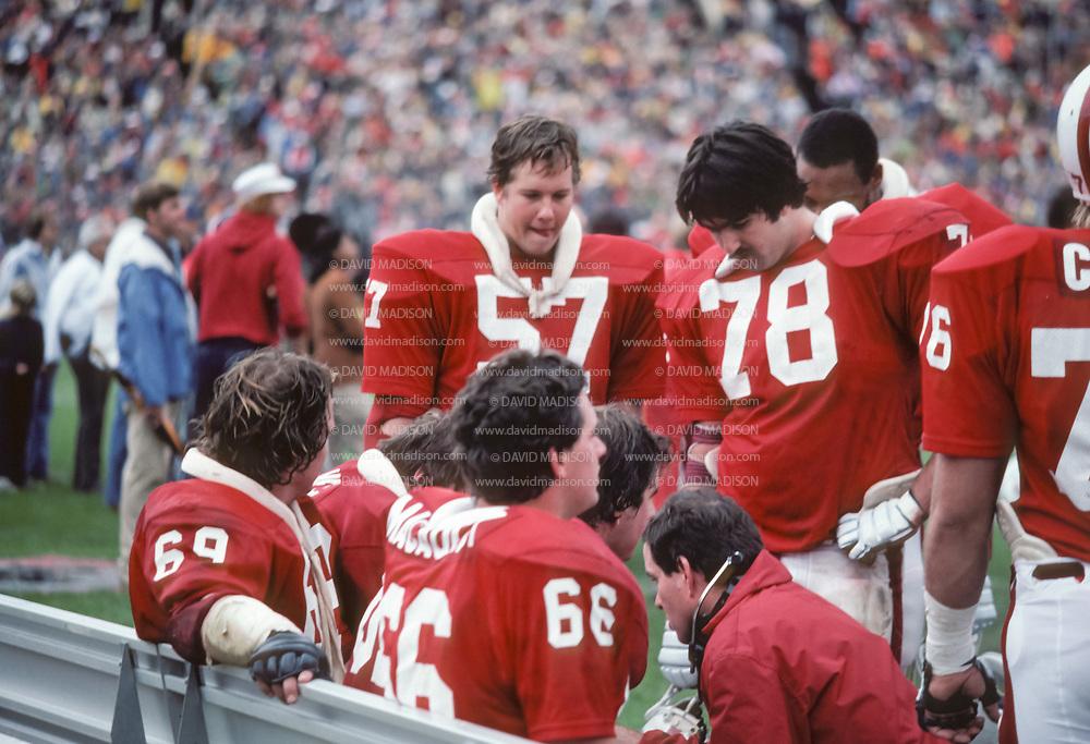 COLLEGE FOOTBALL:  Stanford vs Cal on November 21, 1981 at Stanford Stadium in Palo Alto, California.  Mike Teeuws #57, John McCaulay #66, Jim Dykstra #78.  Photograph by David Madison   www.davidmadison.com.