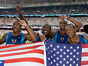 United States gold-medal winning men's 400-meter relay in the IAAF World Championships in Athletics at Stade de France on Sunday, Aug. 31, 2003. From left: Darvis Patton, John Capel, J.J. Johnson and Bernard Williams.