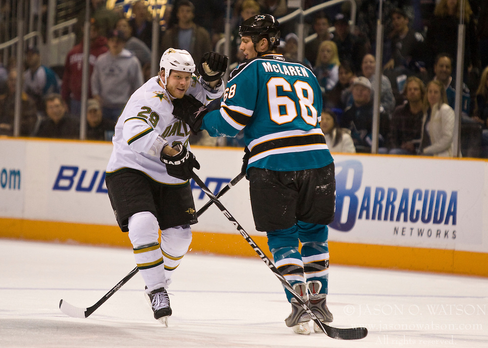 December 11, 2009; San Jose, CA, USA; Dallas Stars center Steve Ott (29) and San Jose Sharks left wing Frazer McLaren (68) during the first period at HP Pavilion. Dallas defeated San Jose 3-2 in the 11th round of a shootout. Mandatory Credit: Jason O. Watson / US PRESSWIRE