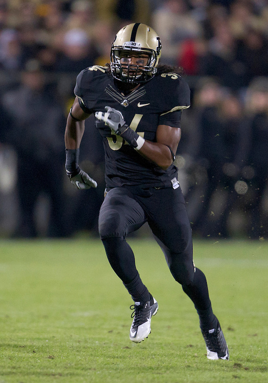 October 01, 2011:  Purdue safety Max Charlot (#34) during NCAA Football game action between the Notre Dame Fighting Irish and the Purdue Boilermakers at Ross-Ade Stadium in West Lafayette, Indiana.  Notre Dame defeated Purdue 38-10.