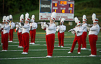 The Sachems Marching Band takes the field for the opening game Friday night at Jim Fitzgerald Field.  (Karen Bobotas/for the Laconia Daily Sun)