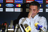 Fotball<br /> Foto: BPI/Digitalsport<br /> NORWAY ONLY<br /> <br /> 19.10.2004<br /> Chelsea FC Champions League <br /> PC and training, Stamford Bridge<br /> <br /> Chelsea manager Jose Mourinho sits and tries to deflect answering questions about disgraced Chelsea player Adrian Mutu.