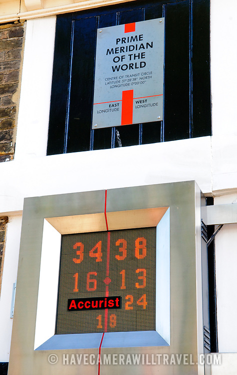 The plaque of the Prime Meridian of the World, which is zero degrees longitude, at the Royal Observatory, Greenwich