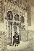 Arcade moresque, a l'Alcazar de Séville [Moorish arcade, in the Alcazar of Seville] Page illustration from the book 'L'Espagne' [Spain] by Davillier, Jean Charles, barón, 1823-1883; Doré, Gustave, 1832-1883; Published in Paris, France by Libreria Hachette, in 1874