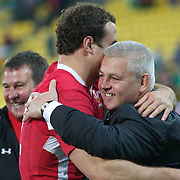Wales coach Warren Gatland, congratulates Jamie Roberts after the Ireland V Wales Quarter Final match at the IRB Rugby World Cup tournament. Wellington Regional Stadium, Wellington, New Zealand, 8th October 2011. Photo Tim Clayton...