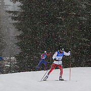 Winter Olympics, Vancouver, 2010.Cross Country athletes training in the snow on the Olympic Cross Country course at  Whistler Olympic Park  in preparation for the event at the Winter Olympics. 10th February 2010. Photo Tim Clayton
