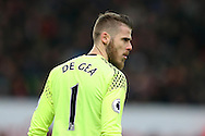 David De Gea, the Manchester Utd goalkeeper looks on. Premier league match, Stoke City v Manchester Utd at the Bet365 Stadium in Stoke on Trent, Staffs on Saturday 21st January 2017.<br /> pic by Andrew Orchard, Andrew Orchard sports photography.