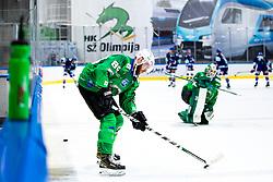 Miha Zajc of HK SZ Olimpija prior to ice hockey match between HK SZ Olimpija Ljubljana and EC GRAND Immo VSV in bet-at-home ICE Hockey League, on October 22, 2021 in Hala Tivoli, Ljubljana, Slovenia. Photo by Morgen Kristan / Sportida