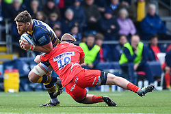 Darren Barry of Worcester Warriors is tackled by Matt Postlethwaite of Sale Sharks - Mandatory by-line: Craig Thomas/JMP - 13/04/2019 - RUGBY - Sixways Stadium - Worcester, England - Worcester Warriors v Sale Sharks - Gallagher Premiership Rugby