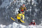 SHOT 1/26/08 2:40:21 PM - Blair Morgan works his way through some small jumps during a qualifying run for the finals of the Snowmobile Snocross event Saturday January 26, 2008 at Winter X Games Twelve in Aspen, Co. at Buttermilk Mountain. The 12th annual winter action sports competition features athletes from across the globe competing for medals and prize money is skiing, snowboarding and snowmobile. Numerous events were broadcast live and seen in more than 120 countries. The event will remain in Aspen, Co. through 2010. Blair Morgan (born October 9, 1975 in Prince Albert, Saskatchewan) is a multi-time CMRC Canadian National championship-winning motocross racer. He is also a multi-time World Snocross snowmobile champion and a 5-times X-Games gold medalist. Blair is a fan-favorite in the sport for his sheer speed and determination. He has made several comebacks from devastating injuries, and is crediting with pioneering the modern snocross riding style, drawing comparisons to Jeremy McGrath of supercross for his innovation..(Photo by Marc Piscotty / © 2008)