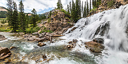 Wyoming waterall panorama.  Granite Creek Falls high in the Gros Ventre Mountains. <br /> <br /> 2X1 ration stitched panorama can be printed up to 3-foot by 6-foot at 150 dpi. <br /> <br /> Custom prints available
