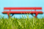 Red bench at Heath Fairgrounds in Heath, Massachusetts.