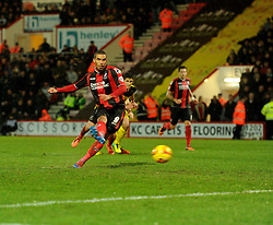 Bournemouth's Lewis Grabban scores from a penalty. - Photo mandatory by-line: Alex James/JMP - Tel: Mobile: 07966 386802 18/01/2014 - SPORT - FOOTBALL - Goldsands Stadium - Bournemouth - Bournemouth v Watford - Sky Bet Championship