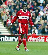 Ugh Ehiogu of Middlesbrough during the Premier League match at the Riverside Stadium, Middlesbrough. Picture date: 16th January 2005 <br /> Pic credit should read Martyn Harrison/ Sportimage