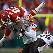 Kansas City Chiefs tight end Brad Cottam (87) was tackled by Cleveland Browns linebacker Matt Roth, (53) in the fourth quarter on December 20, 2009 at Arrowhead Stadium in Kansas City, Mo. The Browns won 41-34.
