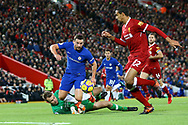 Daniel Drinkwater of Chelsea looks to go past Liverpool Goalkeeper Simon Mignolet as Joel Matip of Liverpool covers. Premier League match, Liverpool v Chelsea at the Anfield stadium in Liverpool, Merseyside on Saturday 25th November 2017.<br /> pic by Chris Stading, Andrew Orchard sports photography.