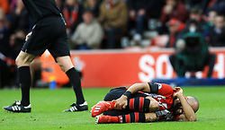 Southampton's Nathan Redmond reacts to an injury during the Premier League match at St Mary's Stadium, Southampton.